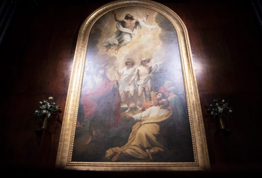 """""""The Ascension"""" by Benjamin West is on display in the War Memorial Chapel at Bob Jones University Wednesday, April 17, 2019."""