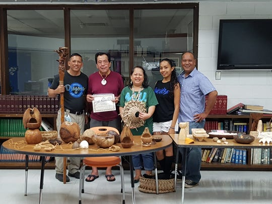 Pictured from left: Elias Taisipic, asst. principal; Siñot Greg Pangelinan; Siñora LeVonne S. Mantanona; Siñorita Eva A. Cruz and Siñot Albert C. Fejeran.