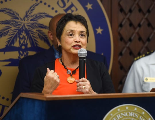 Gov. Lou Leon Guerrero discusses the upcoming 75th Guam Liberation during a press conference at the Ricardo J. Bordallo Governor's Complex in Adelup, April 17, 2019.