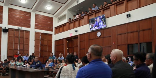 A well-attended confirmation hearing for acting Chief of Police Stephen Ignacio on Tuesday, April 16, 2019 in the Guam Congress Building.
