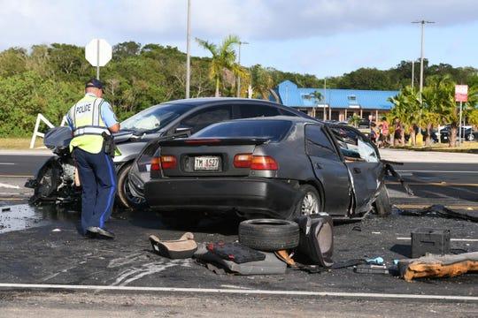 Police are investigating a deadly crash in Yigo on April 17, 2019.