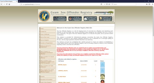 The homepage of the Guam Sex Offender Registry www.guamcourts.org/sor/index.asp