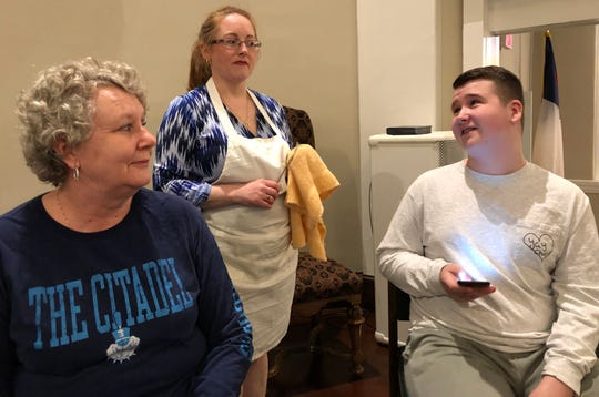 """Angels Addie (left, portrayed by Leslie Hoskins) and Joyce (Becky Jenkins) listen to new angel Jackson (Jackson Gaines) during a rehearsal of Bob Park's latest play, """"Another Day in Heaven."""""""