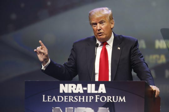 Then-Republican presidential candidate Donald Trump spoke at the NRA annual convention's Leadership Forum at Freedom Hall in Louisville, Ky., on May 20, 2016.