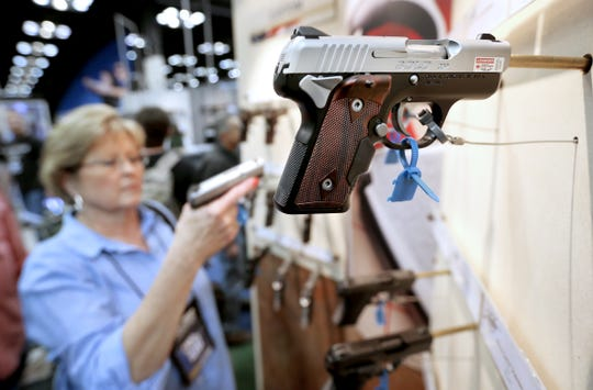 Guns of all shapes and sizes, like this 9mm, were on display at the NRA Convention held in Downtown Indianapolis at the Indiana Convention Center on April 25, 2014.