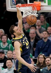 Indiana Pacers forward Bojan Bogdanovic (44) slams a dunk against the Boston Celtics during the first quarter of Game 2 of an NBA basketball first-round playoff series, Wednesday, April 17, 2019, in Boston.