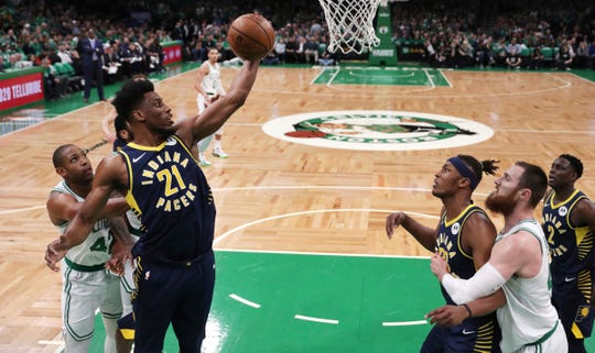 Indiana Pacers forward Thaddeus Young (21) grabs a rebound against the Boston Celtics during the first quarter of Game 2 of an NBA basketball first-round playoff series, Wednesday, April 17, 2019, in Boston.