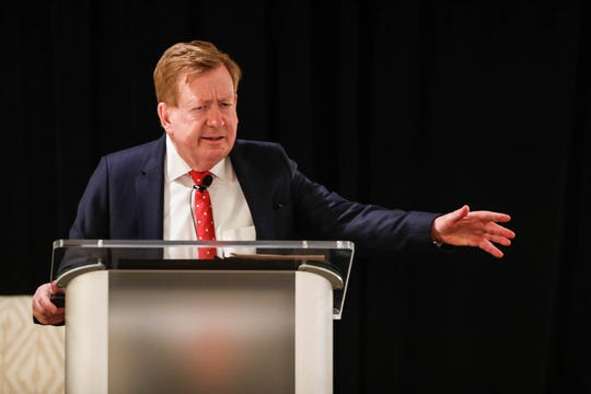 Incumbent mayoral candidate Jim Brainard responds to a question during the Carmel Ind. public debate between CarmelÕs two mayoral candidates, incumbent Jim Brainard and challenger Fred Glynn, a Hamilton County councilor, on Tuesday, April 16, 2019.