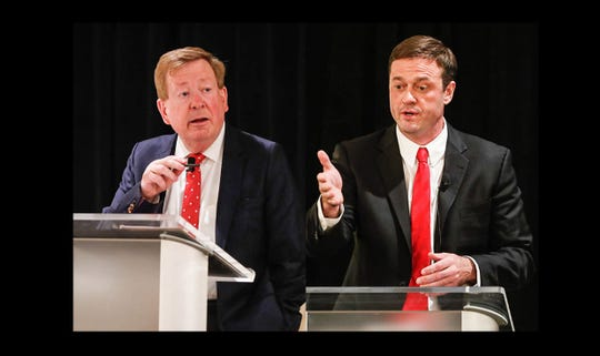 Mayoral challenger Fred Glynn, right, during a public debate with incumbent Jim Brainard at the Ritz Charles on Tuesday, April 16, 2019.