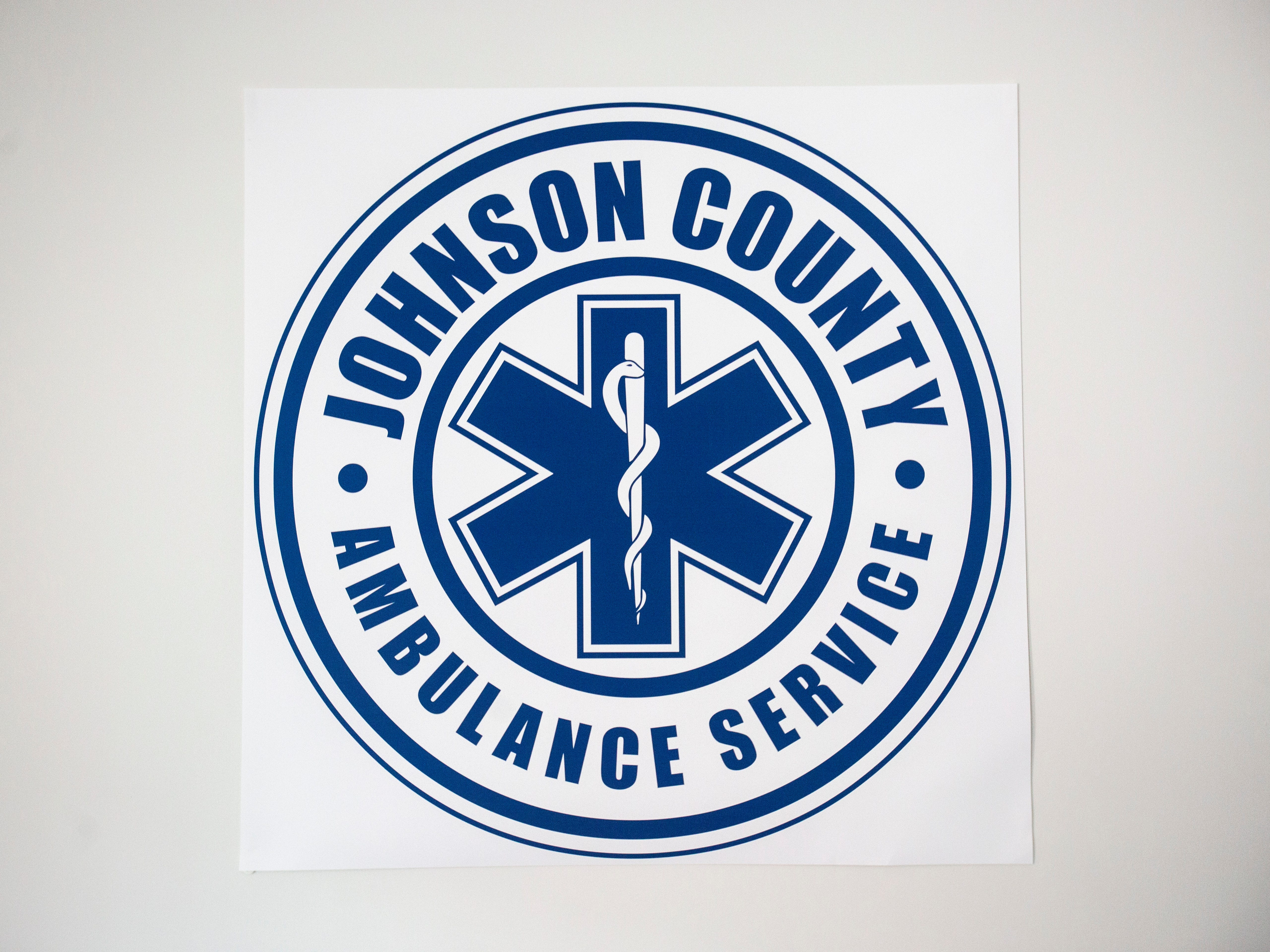 The seal of the Johnson County Ambulance Service is pictured on Wednesday, April 17, 2019, at the Johnson County Ambulance Services building at 808 S. Dubuque Street in Iowa City, Iowa.