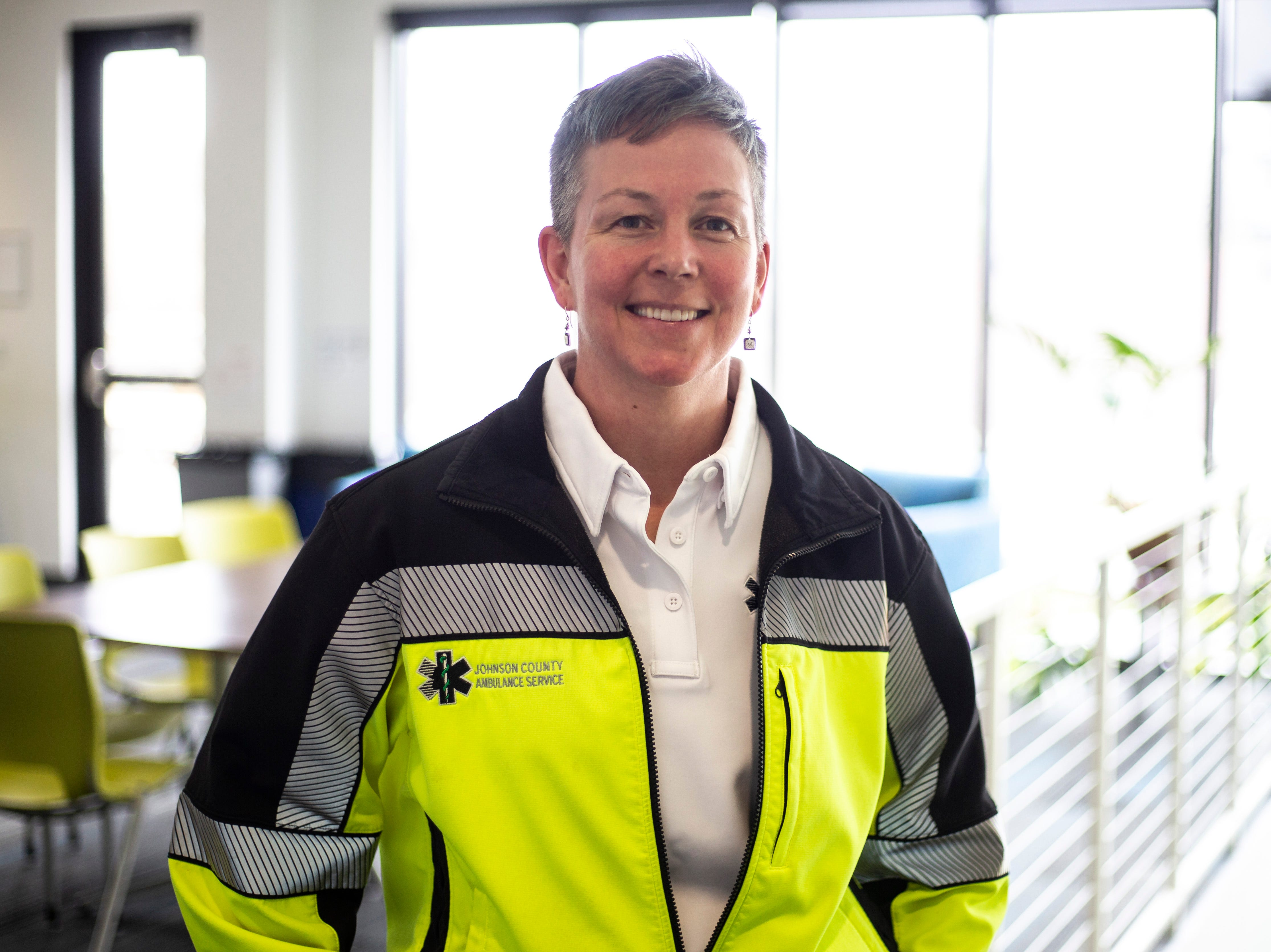 Fiona Johnson, director of Ambulance Service, poses for a photo on Wednesday, April 17, 2019, at the Johnson County Ambulance Services building at 808 S. Dubuque Street in Iowa City, Iowa.
