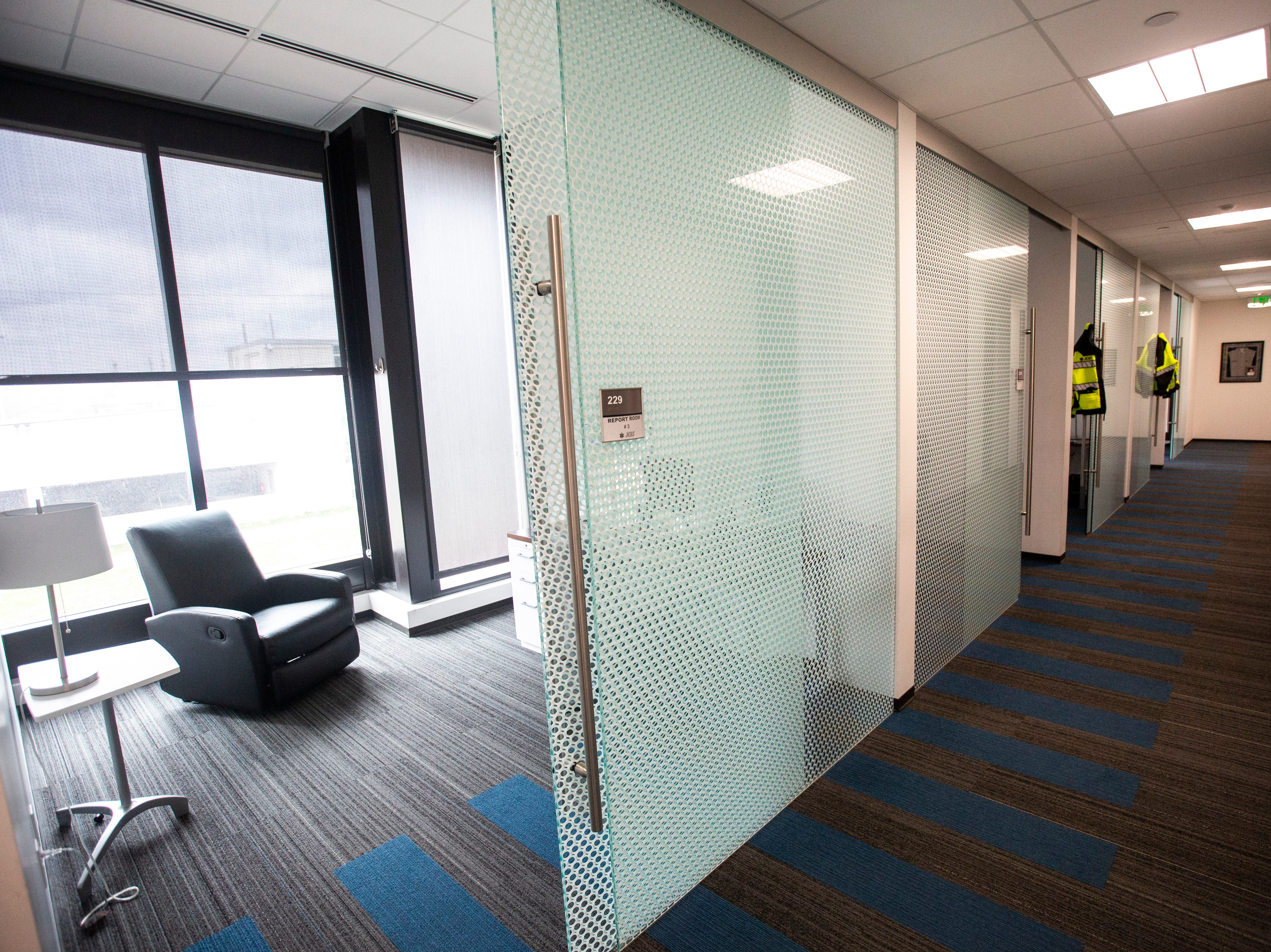A second floor hallway is pictured on Wednesday, April 17, 2019, at the Johnson County Ambulance Services building at 808 S. Dubuque Street in Iowa City, Iowa.