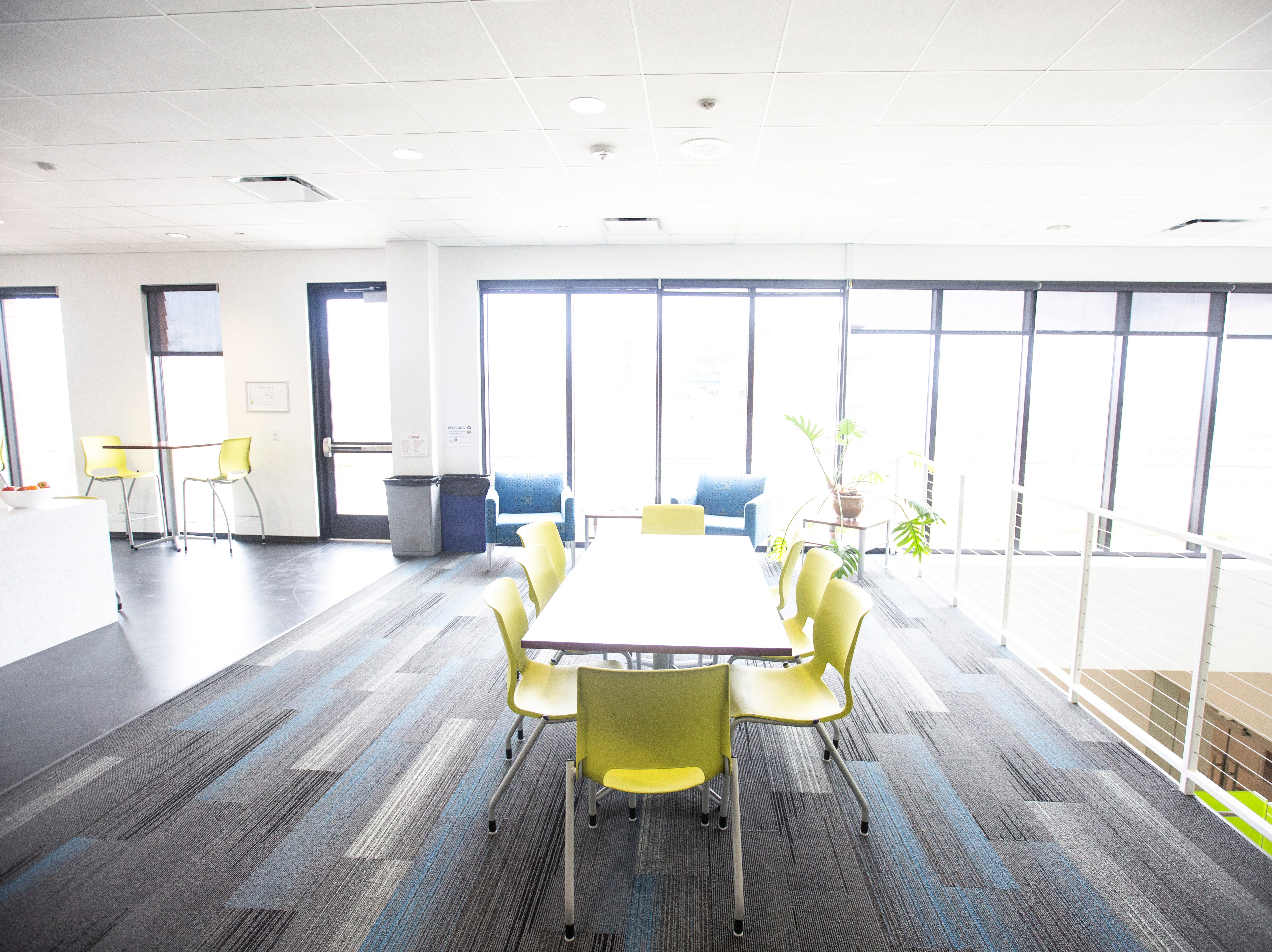 A second floor eating area is pictured on Wednesday, April 17, 2019, at the Johnson County Ambulance Services building at 808 S. Dubuque Street in Iowa City, Iowa.