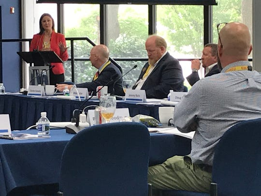 Maggie Shober, director of power market analytics for the Southern Alliance of Clean Energy, gives that group's comments on TVA's draft integrated resource plan to the agency's Regional Energy Resource Council on April 17, 2019.