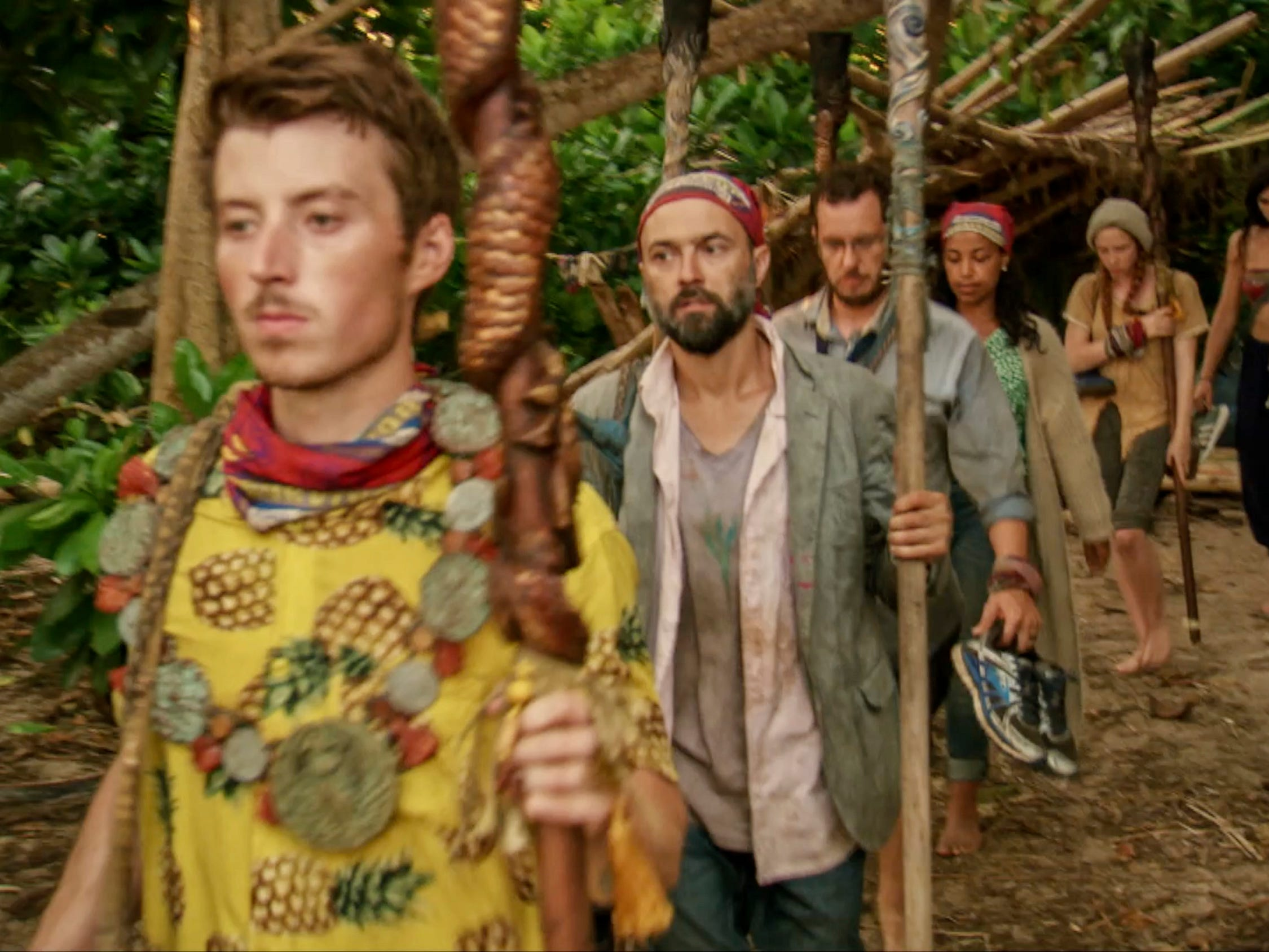 "Gavin Whitson, David Wright and the rest of the castaways head to Tribal Council on ""Survivor: Edge of Extinction."""
