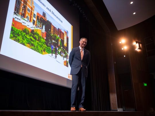Brian Noland, one of the finalist for University of Tennessee chancellor and current president of East Tennessee State University, takes questions an open forum at the Student Union auditorium on Wednesday, April 17, 2019.