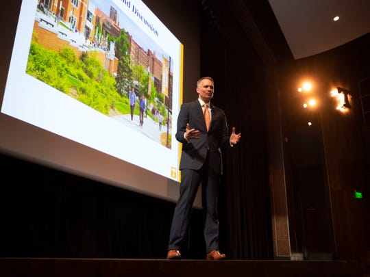 Brian Noland, current president of East Tennessee State University, during an open forum at the Student Union auditorium on Wednesday, April 17, 2019.