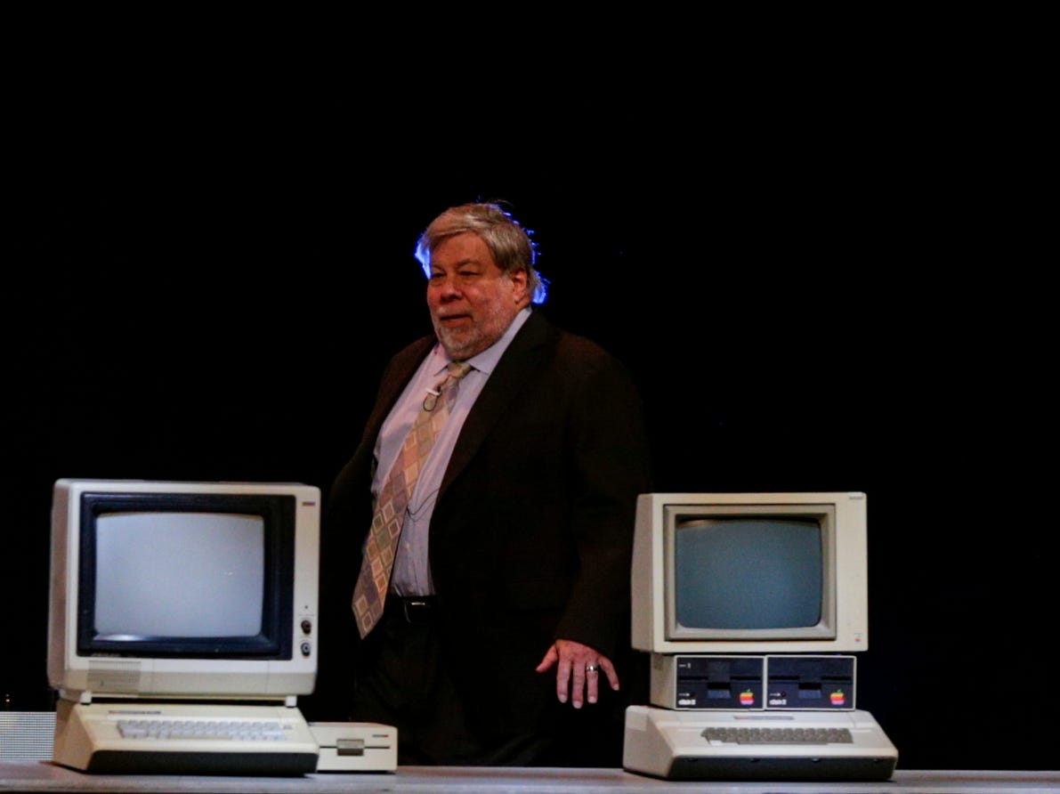 """Apple co-founder Steve Wozniak walks on stage after being introduced by Mung Chiang, dean of the College of Engineering, Wednesday, April 17, 2019, at Purdue University's Elliott Hall of Music in West Lafayette. The talk, """"What If We Lose Control of Technology?,"""" is part of Purdue's Ideas Festival, a series of events tied to the university's 150th anniversary."""