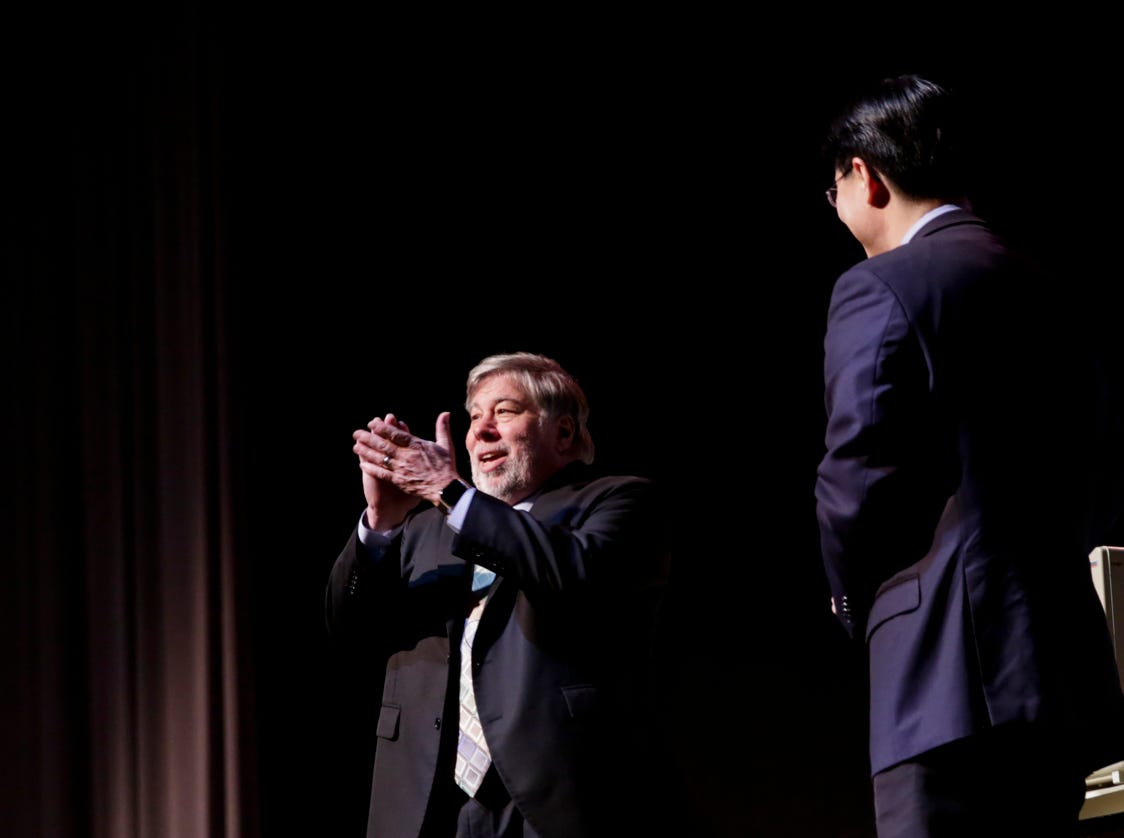"""Apple co-founder Steve Wozniak reacts after seeing a Apple 2 produce the Purdue logo, Wednesday, April 17, 2019, at Purdue University's Elliott Hall of Music in West Lafayette. The talk, """"What If We Lose Control of Technology?,"""" is part of Purdue's Ideas Festival, a series of events tied to the university's 150th anniversary."""