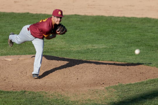 McCutcheon pitcher Ruben Morales (12) throws during the third inning of a high school baseball game, Tuesday, April 16, 2019, at Harrison High School in West Lafayette. McCutcheon won, 8-3.