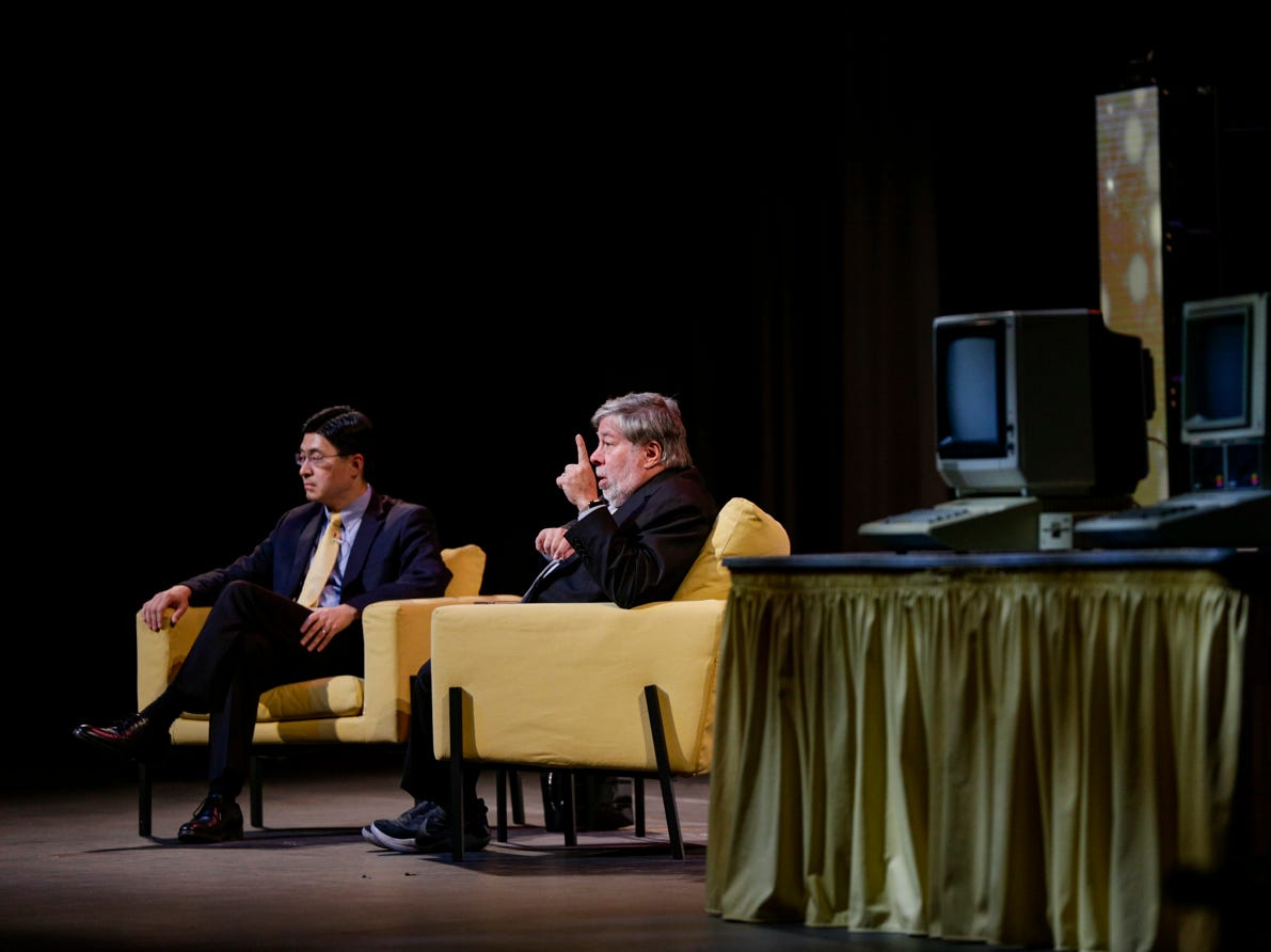 """Apple co-founder Steve Wozniak speaks with Mung Chiang, dean of the College of Engineering, Wednesday, April 17, 2019, at Purdue University's Elliott Hall of Music in West Lafayette. The talk, """"What If We Lose Control of Technology?,"""" is part of Purdue's Ideas Festival, a series of events tied to the university's 150th anniversary."""