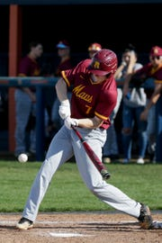 McCutcheon pitcher Connor Ayers (7) swings during the first inning of a high school baseball game, Tuesday, April 16, 2019, at Harrison High School in West Lafayette. McCutcheon won, 8-3.