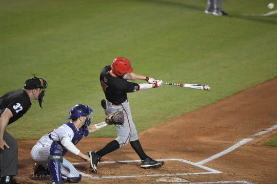 UL's O'Neal Lochridge takes a cut during the Cajuns' 6-5 over LSU in the Wally Pontiff Classic Tuesday night in Metairie.