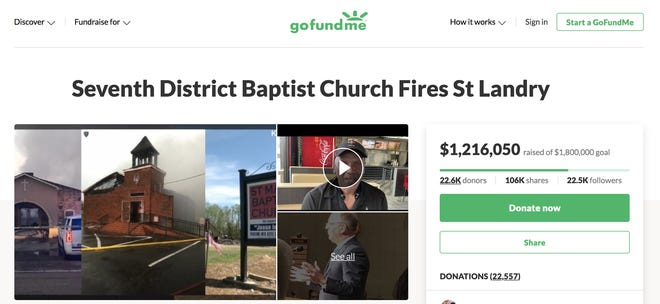 A screenshot taken at 10:45 a.m. of the GoFundMe page for the St. Landry churches destroyed by arson.