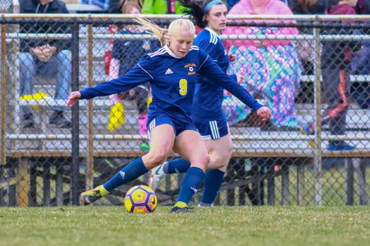 Justina L'Esperance scored twice for Hartland in a 3-1 victory over Brighton on Tuesday, April 16, 2019.