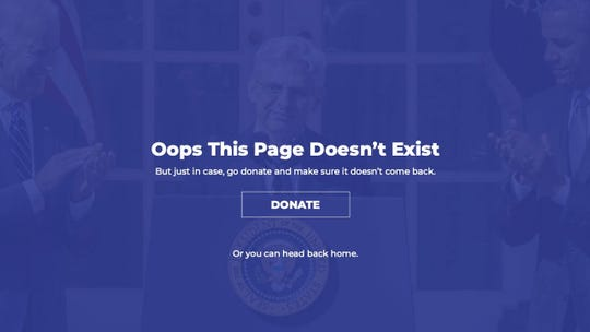 "The Mitch McConnell campaign has a ""404"" page that takes a political jab at Democrats by showing former Supreme Court nominee Merrick Garland."