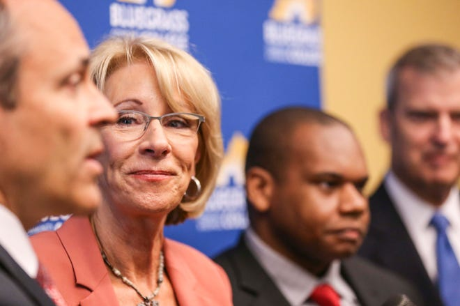 Betsy DeVos, the U.S. Secretary of Education spoke with the media after a roundtable discussion on education scholarships for choice schools at the Bluegrass Community & Technical College Wednesday morning in Lexington.  April 17, 2019