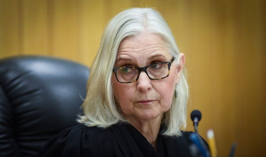 Eaton County Judge Julie Reincke listens to testimony Tuesday, April 16, 2019, during the fourth day of Lou Anna Simon's preliminary hearing in Charlotte, Michigan.  [USA Today Network/Matthew Dae Smith/Lansing State Journal]