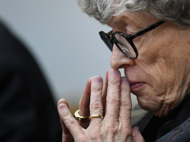 Former Michigan State University President Lou Anna Simon listens to testimony in Eaton County Court Tuesday, April 16, 2019, during  the fourth day of her preliminary hearing on charges of lying to police related to the Larry Nassar investigation. [USA Today Network/Matthew Dae Smith/Lansing State Journal]