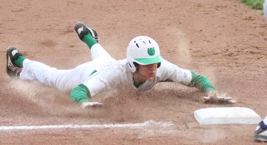 Clear Fork's AJ Blubaugh slides into third base to complete a steal in a 7-5 loss to Galion on Tuesday.