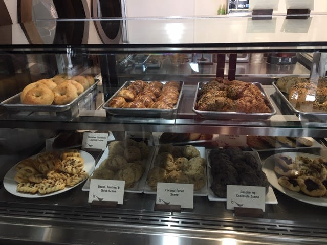 Pastries and scones are part of the breakfast fare at the Hudson and Essex Deli at 51 E. Fourth Street which opened Wednesday downtown.