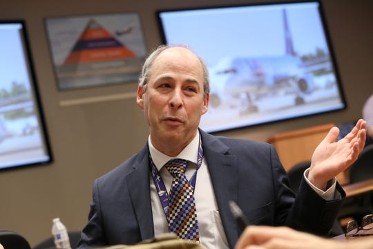 Scot Struminger, senior vice president of business operations and express technology at FedEx, talks about their Purple Runway Aviation Scholarship program in partnership with the University of Memphis, funds to further training for potential incoming employees at the Memphis based hub, on Wednesday, April 17, 2019.