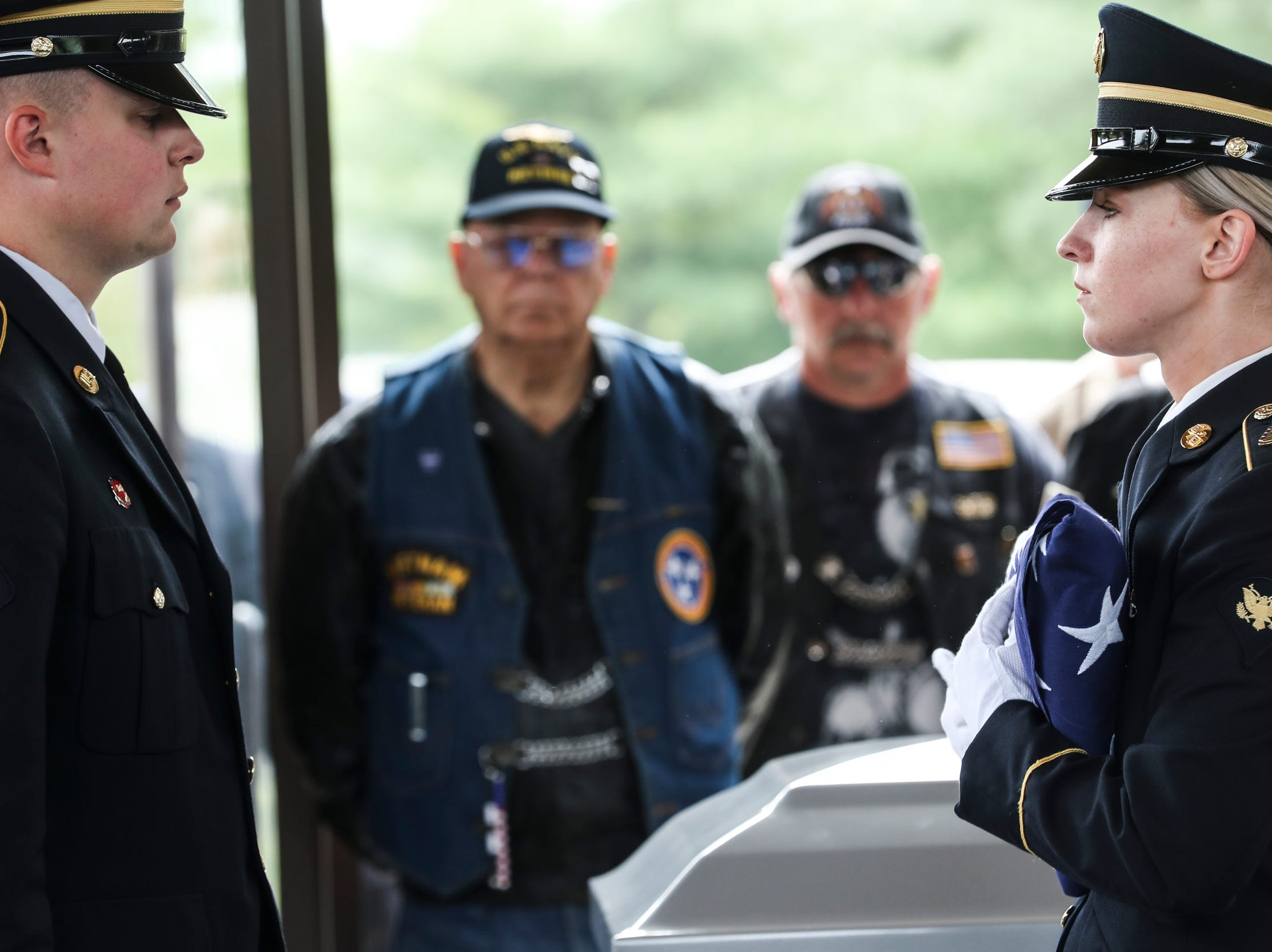 April 17, 2019 - Veterans, Patriot Guard Riders and community members gathered for a Committal Service with Military Honors at the West Tennessee State Veterans Cemetery on Wednesday morning for Army veteran Willliam Thomas Nahlen and Air Force veteran Roderick Allen Haynes.