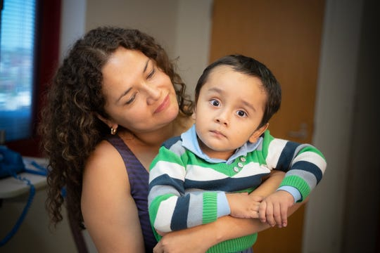 "Gael Jesus Pino Alva, 2, and his mother, Giannina Alva. Gael was treated with a new therapy designed to fight X-linked severe combined immunodeficiency (SCID-X1), a genetic condition known as ""bubble boy"" disease, at St. Jude Children's Research Hospital."