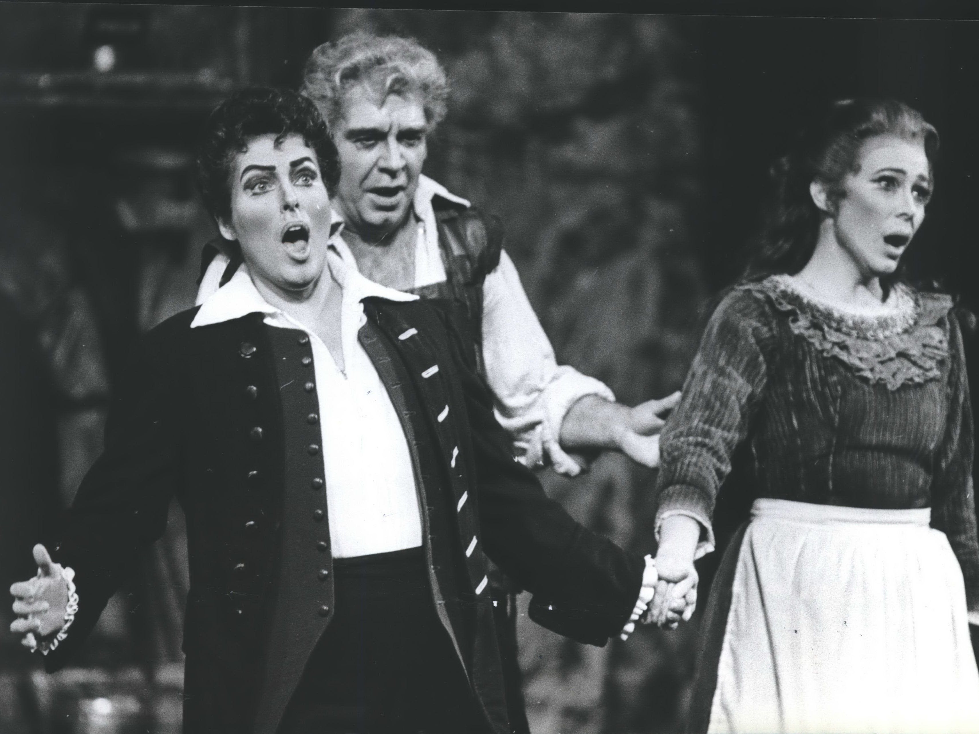 "Singing during the Florentine Opera Company production of ""Fidelio""  were (from left) Janet Alcorn as Fidelio, John West as Rocco and Carol Wilcox-Jones as Marzelline, 1983."