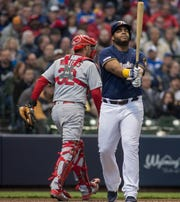 Brewers first baseman Jesus Aguilar reacts after being called out Wednesday in a game against the Cardinals.