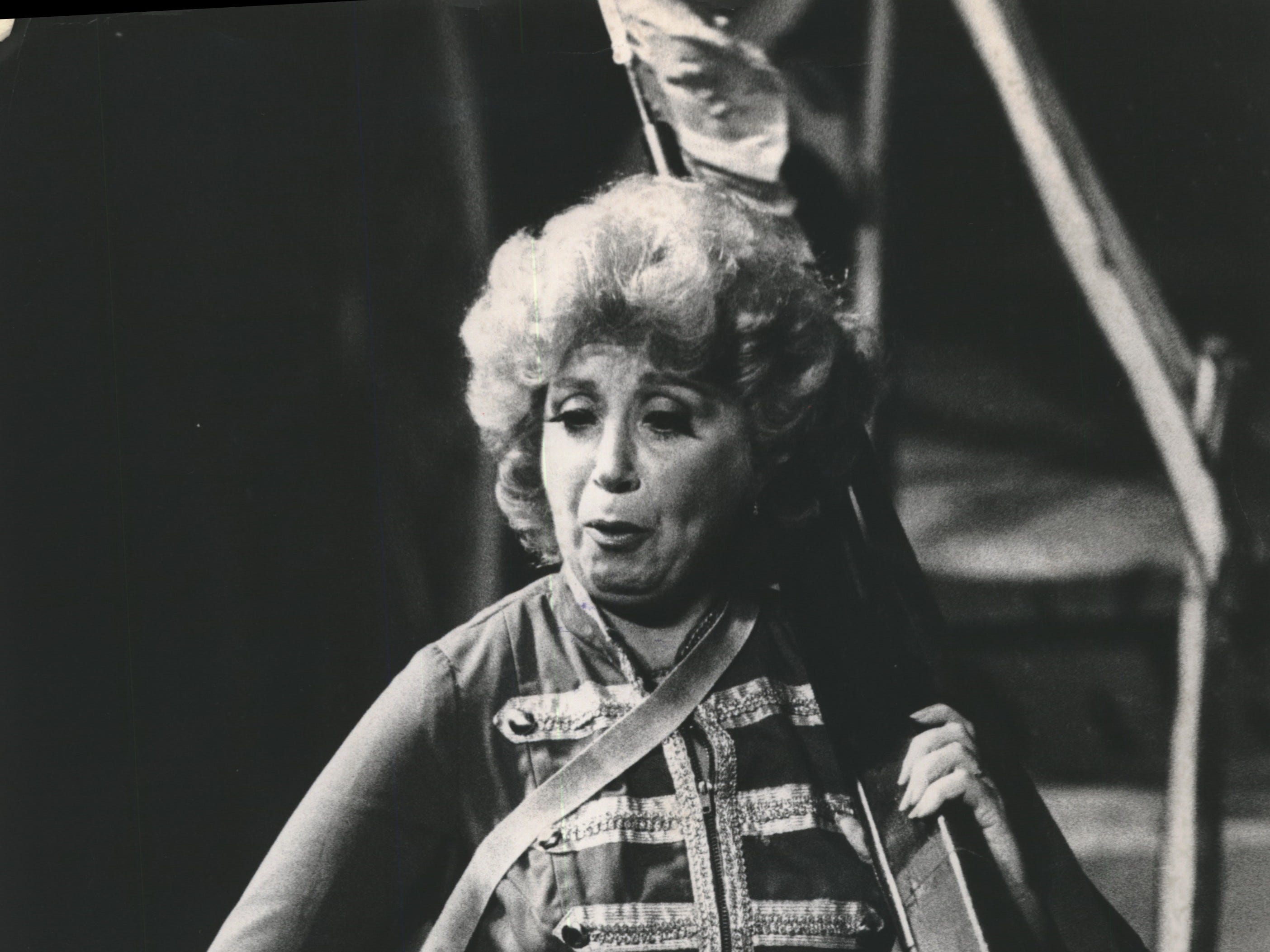 "Beverly Sills marched across the stage during the Florentine Opera Company's production of ""Daughter of the Regiment,"" 1978."