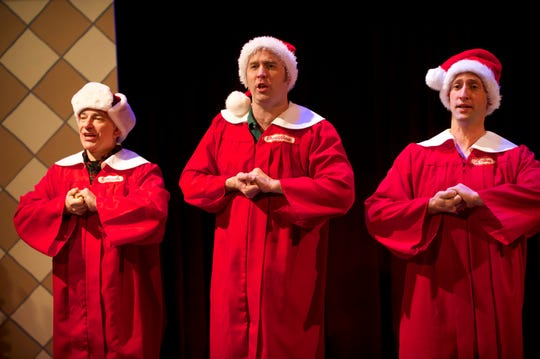 """Many successful performances of """"A Cudahy Caroler Christmas"""" created the nest egg that helped In Tandem Theatre build its Tenth Street Theatre. Chris Flieller (left), Nathan Wesselowski and Joe Fransee join in song in this scene from the musical comedy."""