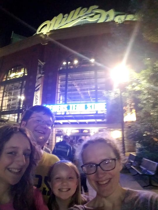 Alex, Jonathan, Wendy and Amy Schwabe can enjoy Brewers games despite Alex's peanut allergy, because of peanut-controlled Brewer games.
