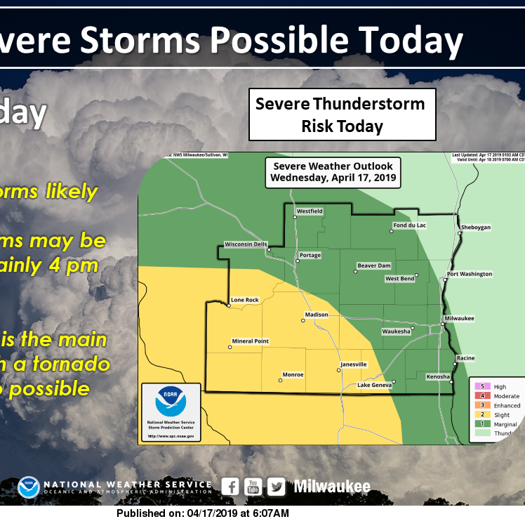 Severe storms possible across southern Wisconsin Wednesday afternoon and evening
