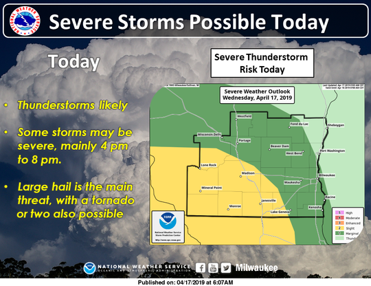 Severe thunderstorms are possible later Wednesday afternoon and evening across southern Wisconsin. The higher risk is in the areas shaded in yellow, according to the National Weather Service.