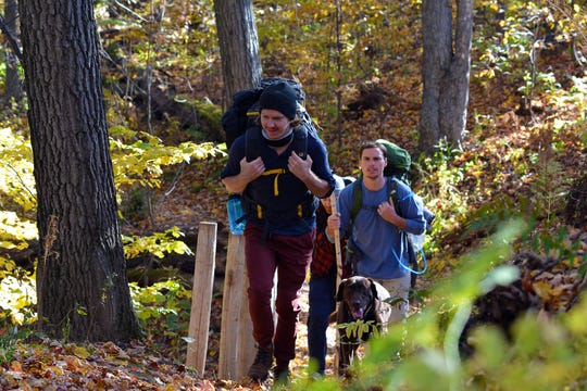 Backpackers make their way through the Chippewa Moraine State Recreation Area.