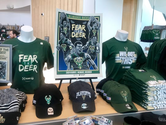 Merchandise for sale at the Bucks Pro Shop at Fiserv Forum celebrates the team's run in the NBA playoffs.