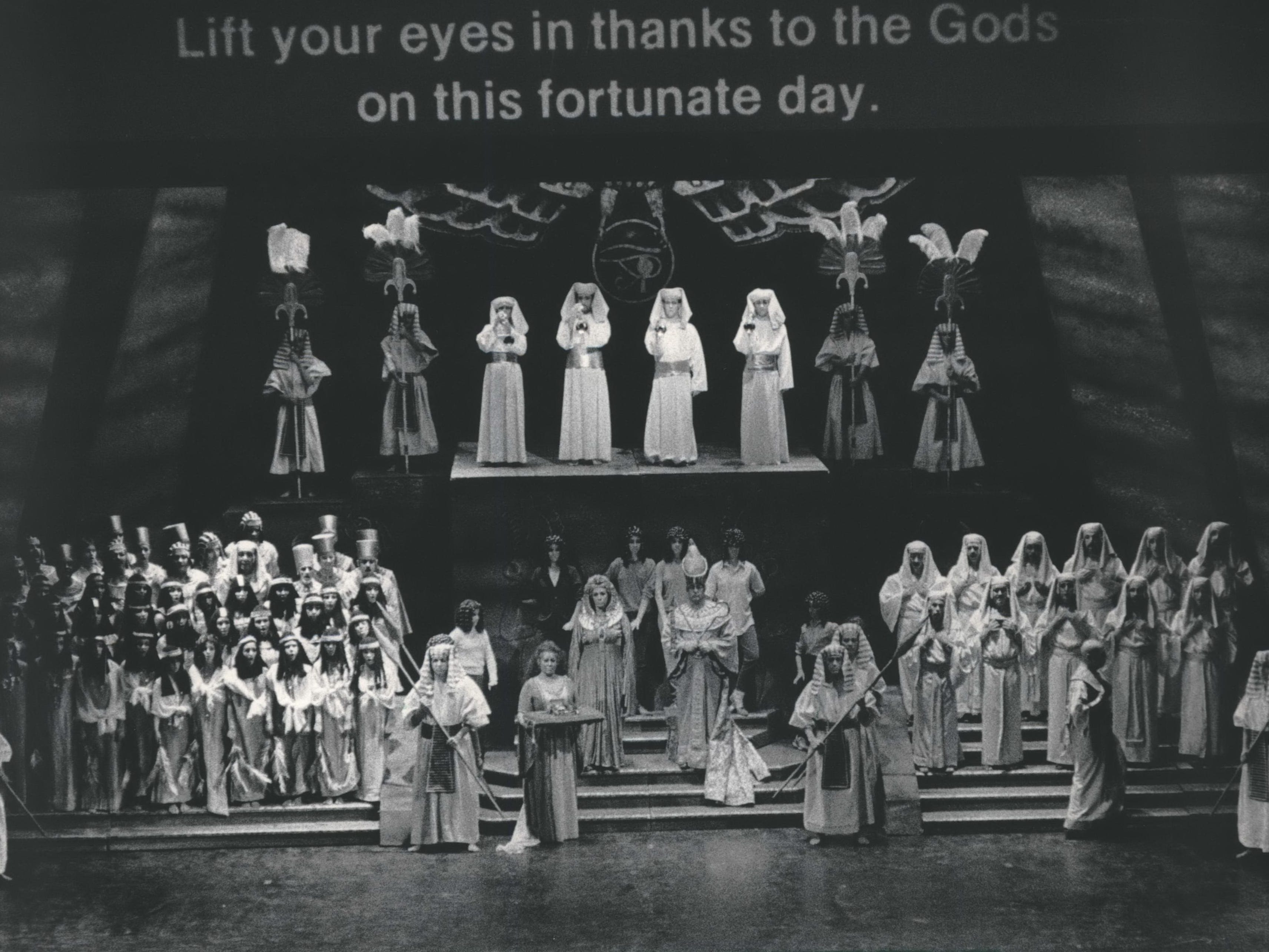 "The Florentine Opera Company opened its 1984-'85 season with Verdi's ""Aida."" For the first time in Milwaukee the audience read an English translation while hearing the opera sung in Italian. The translation was prepared by the San Francisco Opera."