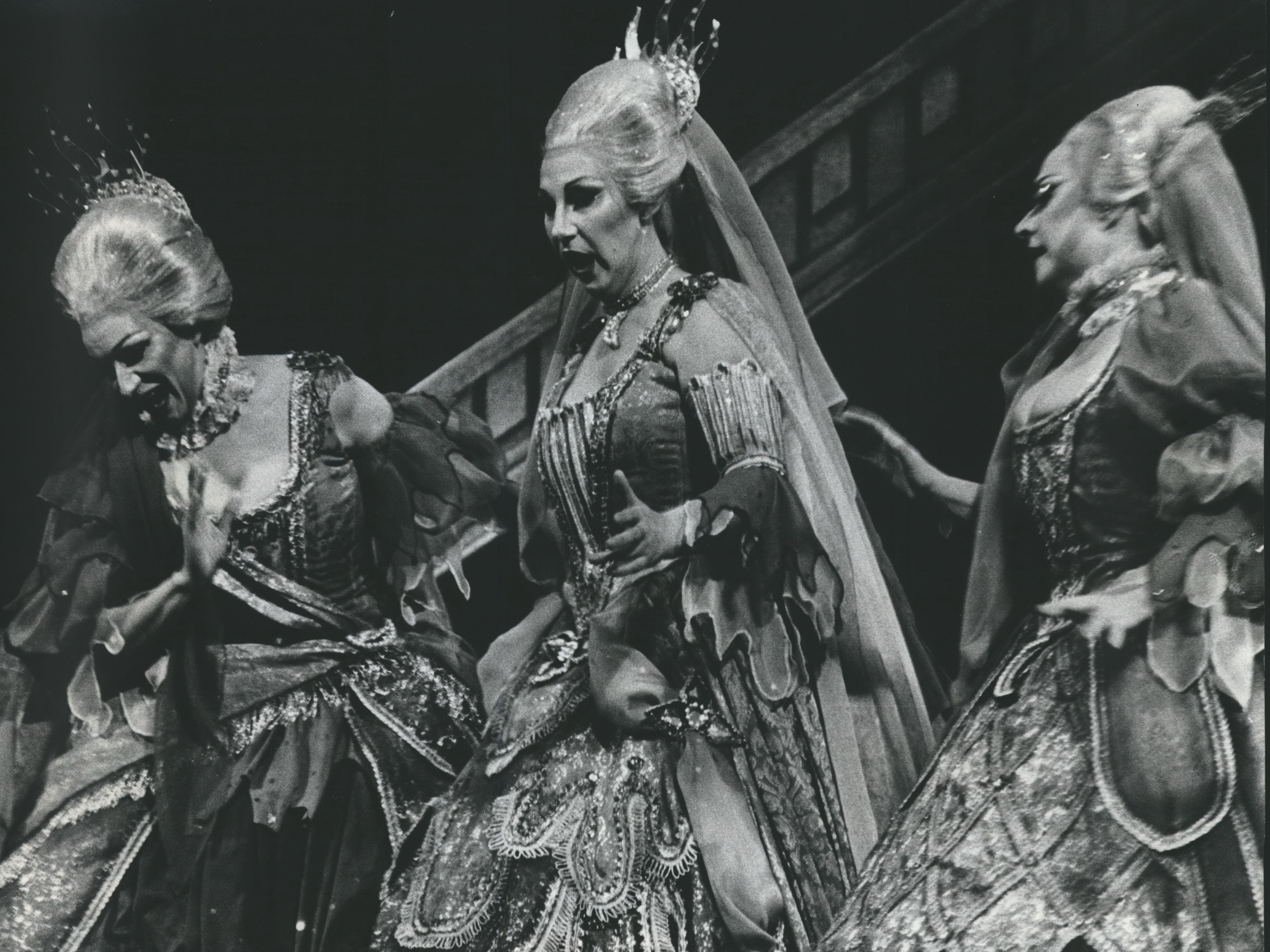 "The Queen of the Night's Three Ladies, Patricia Nelson (from left), Marlys Greinke and Adele Borouchoff, performed in the Florentine Opera Company's ""The Magic Flute,"" 1976."