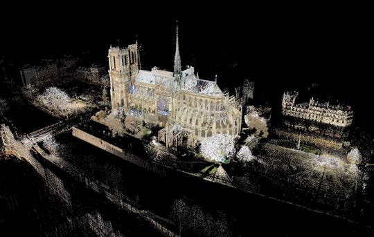 Andrew Tallon Tallon used laser scanners to map Notre-Dame de Paris starting in 2011. After the Notre-Dame de Paris fire April 15, 2019, Tallon's work mapping the building's interior was cited as a potential resource for planned reconstruction.